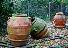 Forgotten Pots. Large pots found in heavily wooded area in Royalty Free Stock Photography
