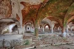 Forgotten stable with a beautiful brick vault Royalty Free Stock Photos