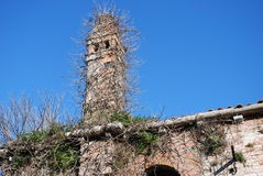 Forgotten tower. Il lazzaretto vecchio in Venice. Apparently this small abandoned island is haunted Stock Photos