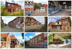 Forgotten town of Doel. Belgium. Photo collage. Collage of images of empty streets and street art of the abandoned village Doel, Belgium. Destination of street stock photo