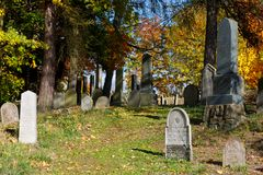 Forgotten and unkempt Jewish cemetery Stock Photo