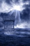 The Forgotten Wishing Well. A digitally created setting created from a mixture of digital art and my photography for artists to use of a wishing well Stock Photo