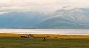 Forgotten Wooden Boat Sits Abandoned Cook Inlet Alaska Royalty Free Stock Photography