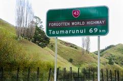 Forgotten World Highway Sign - New Zealand. Forgotten World Highway Sign in New Zealand stock photos