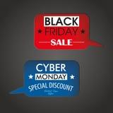 2 fori Black Friday lunedì cyber dei fumetti Immagini Stock