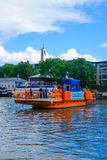 Fori ferry, in Turku. TURKU, FINLAND - JUNE 23, 2017: Scene of the Aura river, with the Fori ferry and passengers, in Turku, Finland Royalty Free Stock Photography