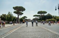 皇家论坛Fori Imperiali都市场面在罗马 免版税库存图片