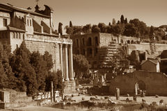 Fori Imperiali ancient ruins in Rome Royalty Free Stock Image