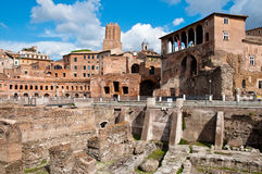 Fori Imperiali and Casa dei cavalieri di Rodi at Rome Royalty Free Stock Photos