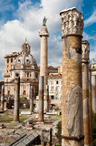 Fori Imperiali - Column detail background Colonna trajana and Ch Stock Images