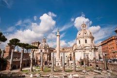 Fori Imperiali E Colonna Traiana At Roma - Italy Royalty Free Stock Photo