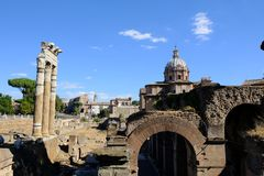 Fori Imperiali in Rome. Rome, Italy - August 13, 2017: The Imperial Fora Fori Imperiali in Italian are a series of monumental fora public squares were the center Royalty Free Stock Photo