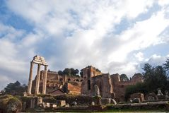 Fori Imperiali, Rome. Panoramic view of the ancient ruins of Fori Imperiali, Rome Stock Images