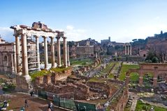 Fori Imperiali Rome. Panoramic view of the ancient ruins of Fori Imperiali with Temple of Saturn, Rome Stock Image