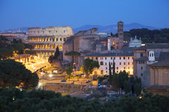 Fori Romani and Colosseum at night, Roma Stock Photography