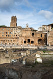 Fori of traiano. The beautiful view of the fori romani and plaza of Traiano at sunset Royalty Free Stock Photos