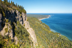 Forillon National Park, Gaspe Peninsula. Cap-des-Rosiers as seen from Mont-St-Alban in Forillon National Park, Gaspe Peninsula, Quebec, Canada royalty free stock photo