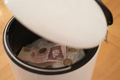 Hungarian Forint in the Dustbin stock images