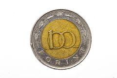 The forint sign: Ft; code: HUF is the currency of Hungary. Coins on isolated white background. stock photo