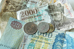 Forint Money. Pile of Hungary Forint banknotes and coins money Royalty Free Stock Photography