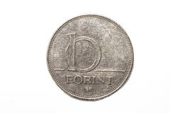 The forint sign: Ft; code: HUF is the currency of Hungary. Coins on isolated white background. royalty free stock photo