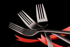Fork. The forks in black background Royalty Free Stock Images