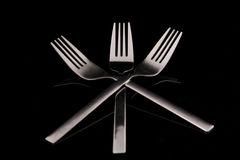 Fork. The forks in black background Stock Photography