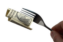 Fork. Dollar on fork money gourmet Royalty Free Stock Photography