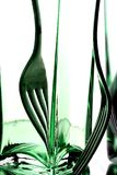 Fork Abstract Background. Abstract background design of fork and green bottle with reflection Stock Photos