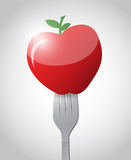 Fork and apple illustration design Royalty Free Stock Photography