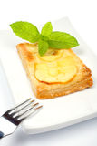 Fork and apple tart on a dish Stock Image