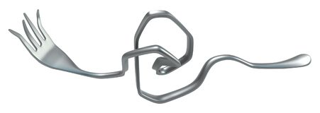 Fork Bent Twisted. Metal, 3d illustration, horizontal, isolated, over white Stock Image