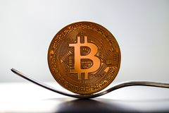Fork Bitcoin Coins. The Bitcoin Coins cryptocurrency mining royalty free stock images