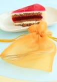 Fork for cake. Beautyfull bag of fork with slice cake Stock Photography