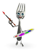 Fork character with Color plate Stock Image