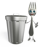 Fork character with dustbin Stock Images