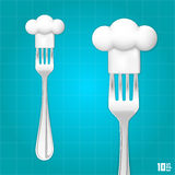 Fork with chef hat Royalty Free Stock Photos