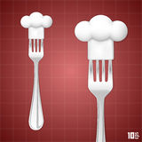 Fork with chef hat Royalty Free Stock Photo