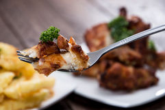 Fork with Chicken Meat Royalty Free Stock Photos