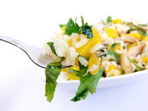 Fork and chicken salad royalty free stock photography