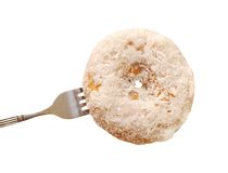 Fork and coconut bagel Royalty Free Stock Image