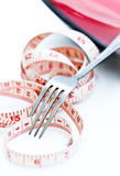 Fork con cinta métrica Fotos de archivo libres de regalías