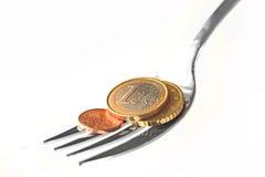 Fork con las monedas euro Imágenes de archivo libres de regalías
