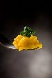 Fork con risotto con azafrán Imagenes de archivo