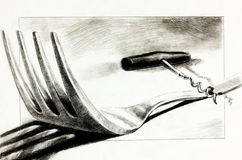 Fork and corkscrew. Original pencil  or drawing charcoal, and  hand drawn painting or  working  sketch of a fork and corkscrew.Free composition Royalty Free Stock Photo