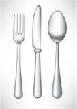 Fork, cuchara y cuchillo Imágenes de archivo libres de regalías