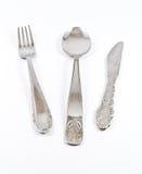 Fork, cuchara y cuchillo Foto de archivo