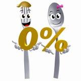 Fork de la cuchara del oro con la oferta cero del promo del por ciento Foto de archivo