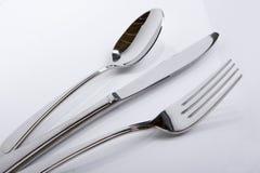 Fork del cuchillo de la cuchara en un ángulo Imagen de archivo