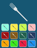 Fork emblem - Vector icon isolated. With color variations Stock Image